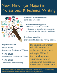Flier providing a visual overview of the professional writing minor