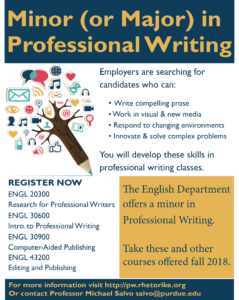 Flier describing the professional writing minor for fall 2018.